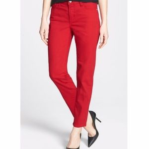 NYDJ Alisha fitted ankle jeans-pomegranate red